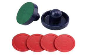 Blue Air Hockey Pushers Set of 2 and 4 Red Pucks Reviews