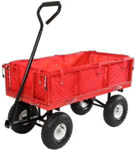 Sunnydaze Utility Steel Garden Cart with Liner, Outdoor Lawn Wagon with Removable Sides